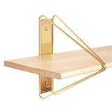 Strut Shelf + Shelving System: Brass + Natural Maple