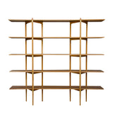 Primo Shelving System: High + Oak + Stainless Steel