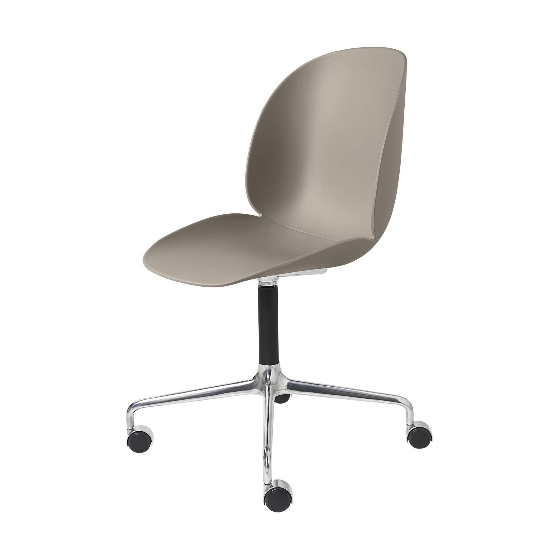 Beetle Meeting Chair: 4-Star Swivel Base With Castors: New Beige + Polished Aluminum + Black Matte Base