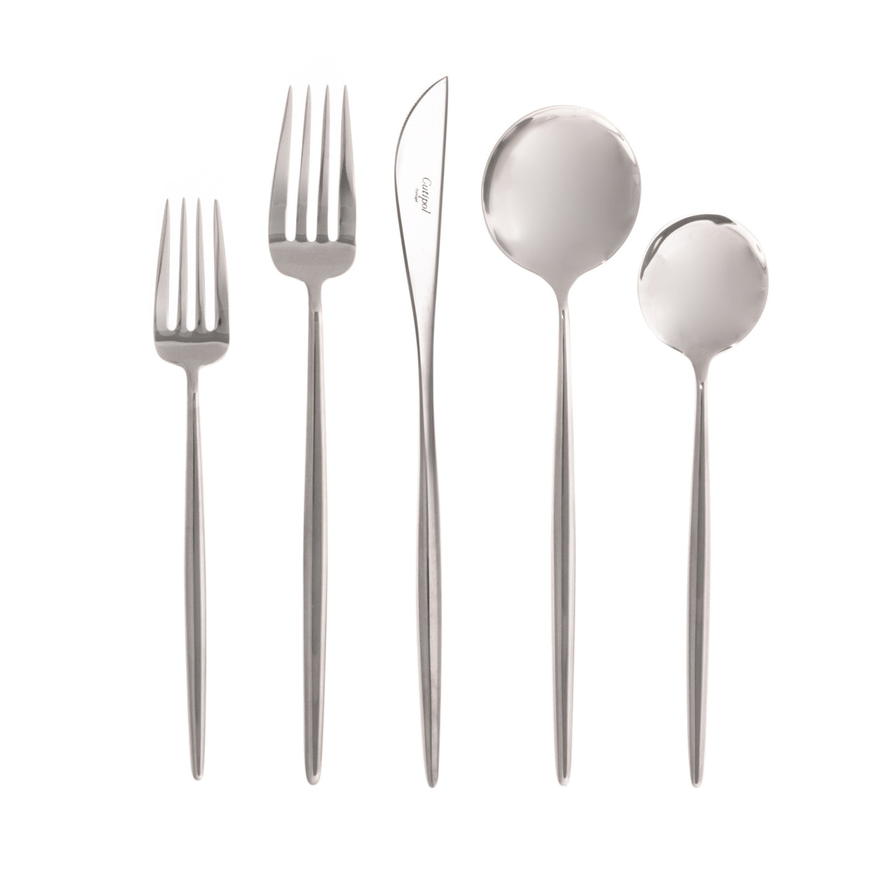 Moon Flatware: Polished Steel: Polished: Single 5-pc Set