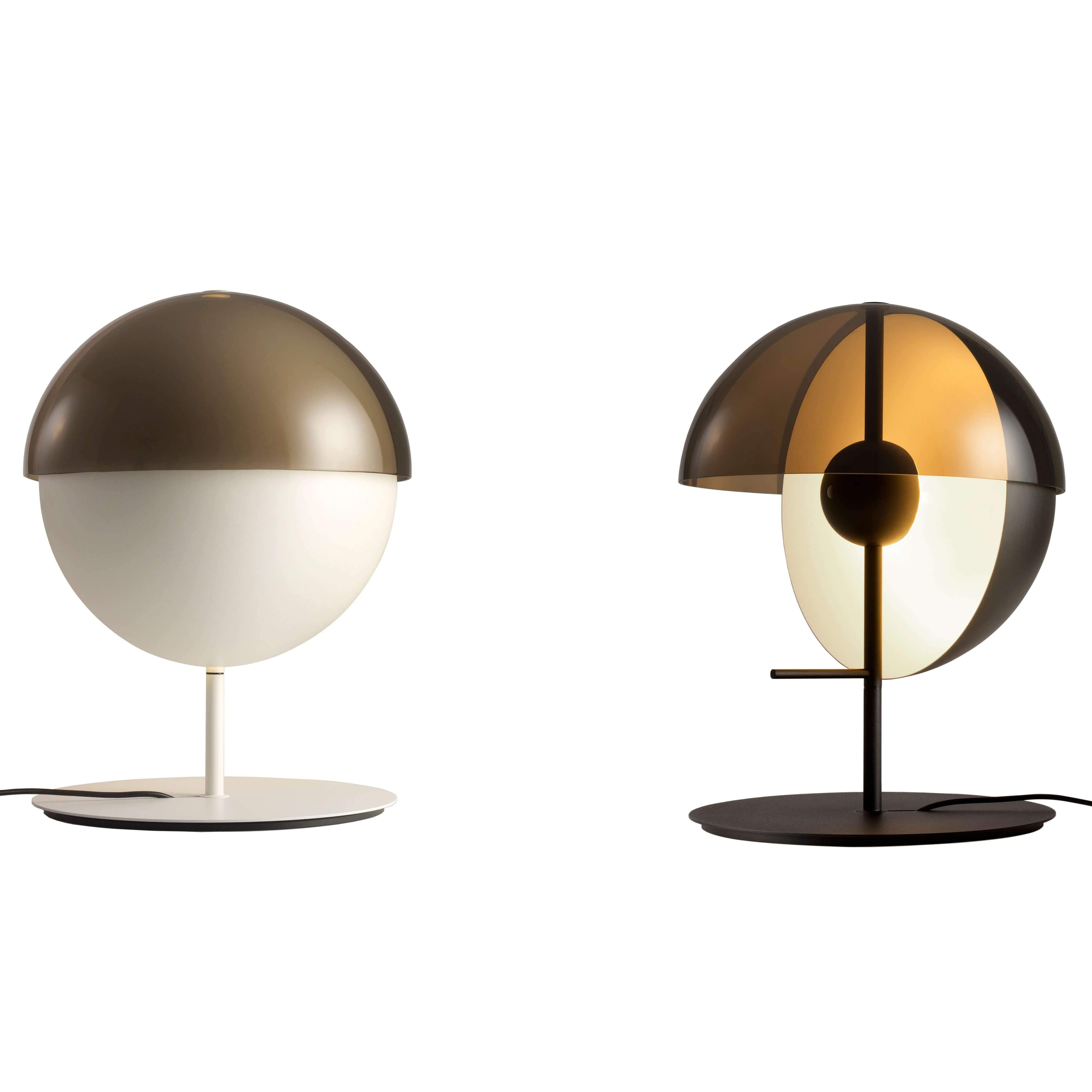 Theia Table Lamp: White + Black