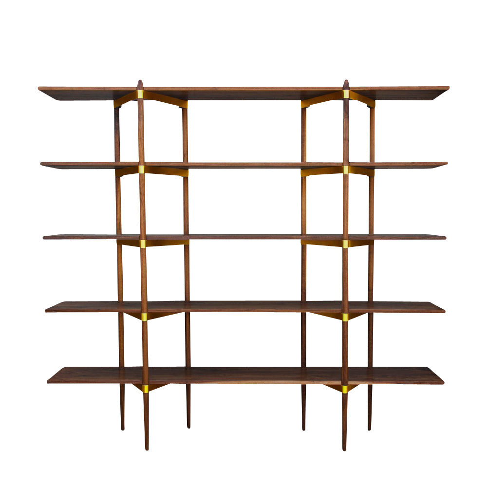 Primo Shelving System: High + Walnut + Brass