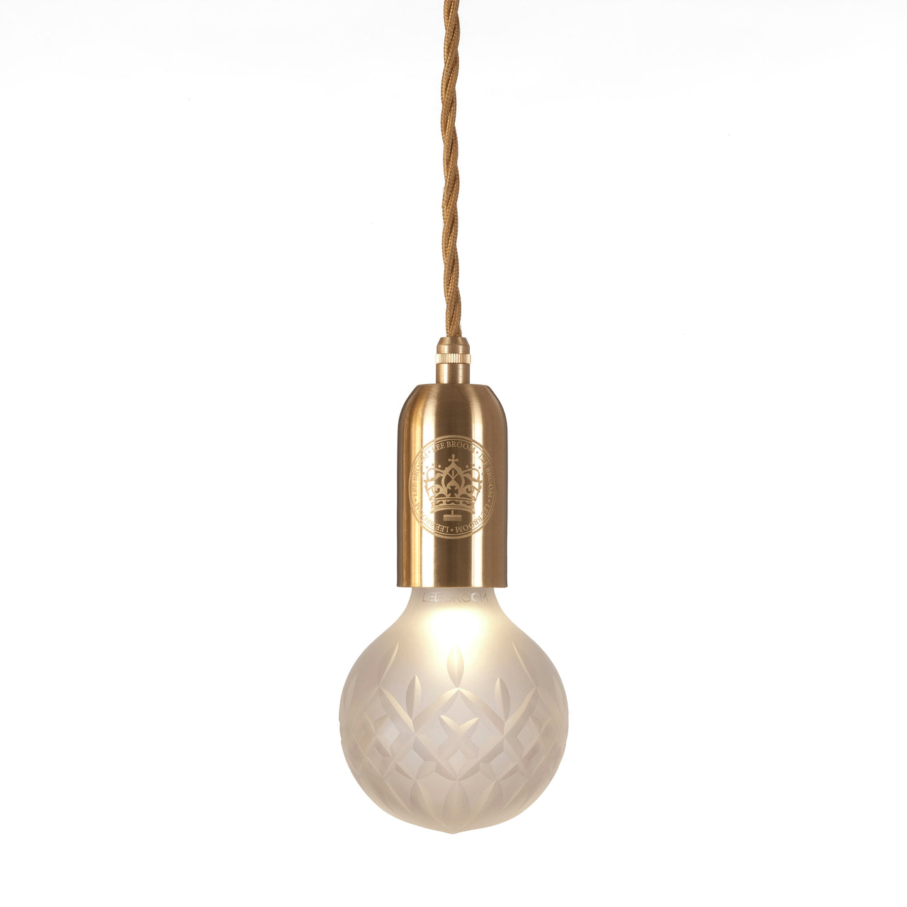 Crystal Bulb + Pendant: Bulb + Brushed Brass Fitting+ Frosted Crystal