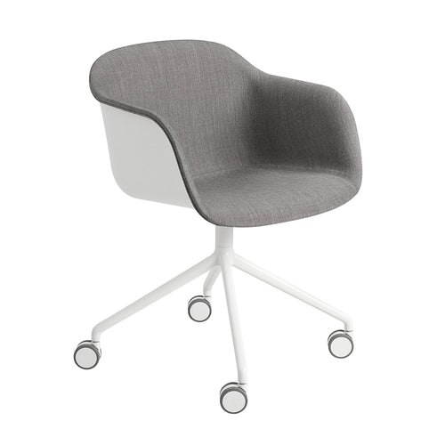 Fiber Armchair Swivel Base With Castors: Upholstered