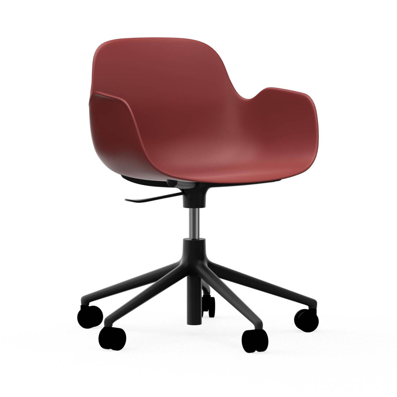 Form Armchair: Gaslift: Black Aluminum + Red