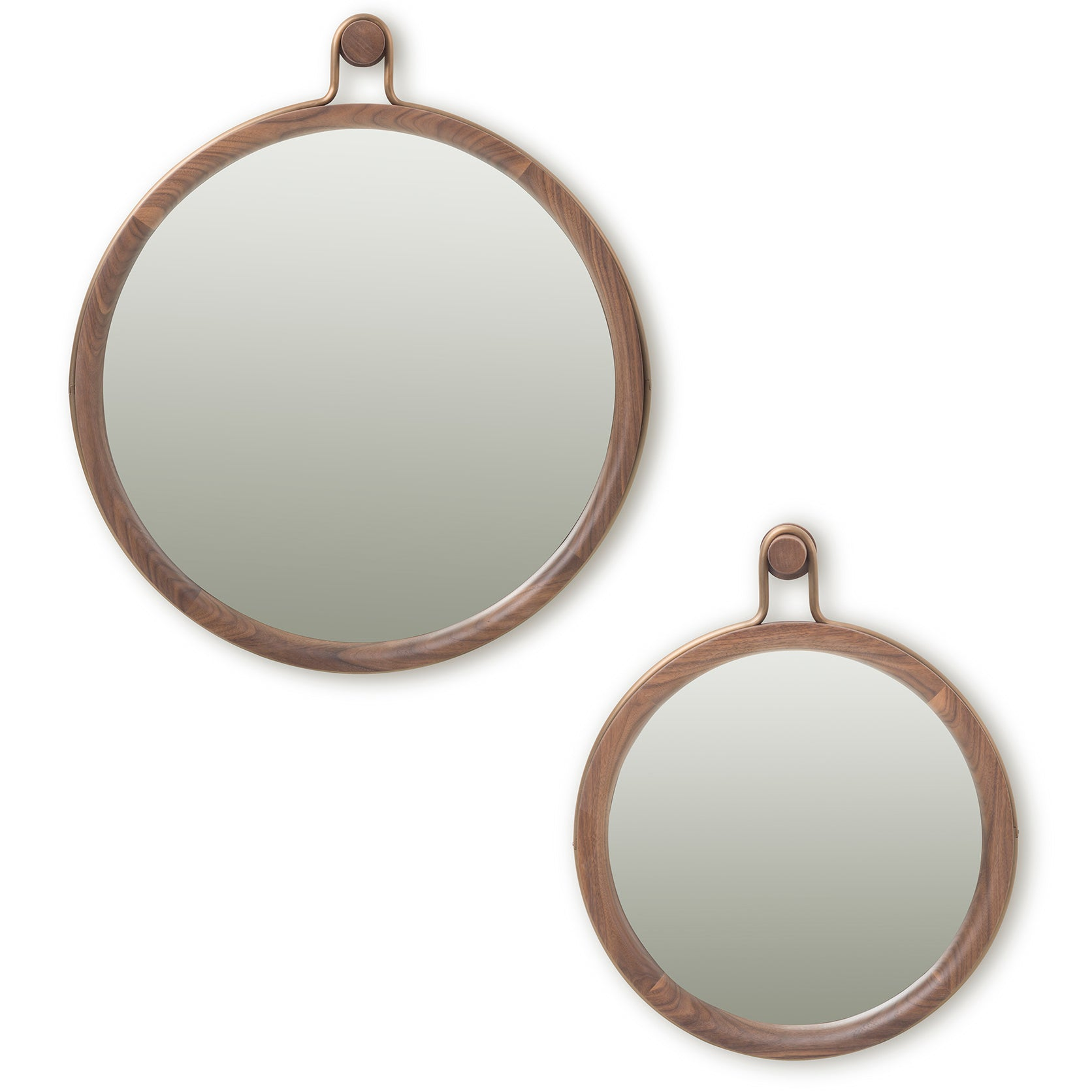Utility Round Mirror: Large + Small + Natural Walnut