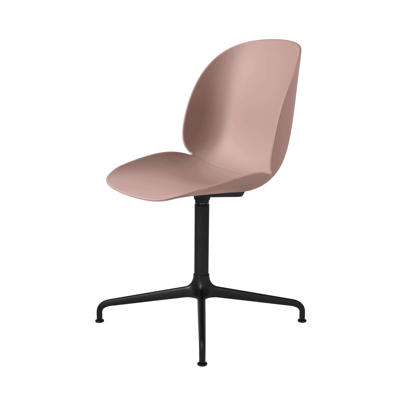Beetle Meeting Chair: 4-Star Swivel Base: Sweet Pink + Black Matte Base + Plastic Glides