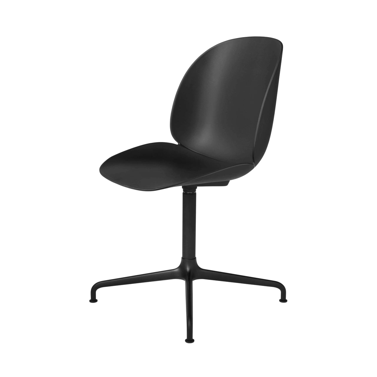 Beetle Meeting Chair: 4-Star Swivel Base: Black + Black Matte Base + Plastic Glides