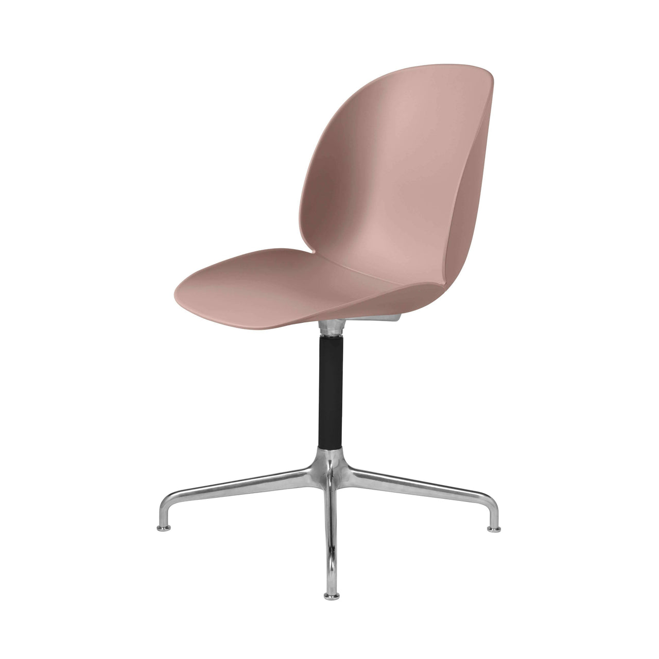 Beetle Meeting Chair: 4-Star Swivel Base: Sweet Pink + Polished Aluminum + Black Matte Base + Plastic Glides