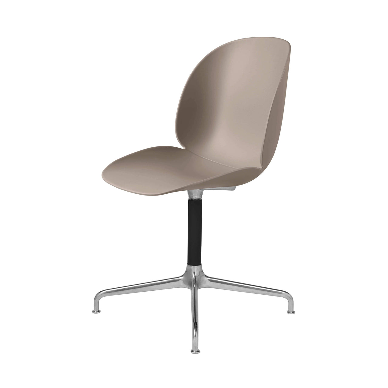 Beetle Meeting Chair: 4-Star Swivel Base: New Beige + Polished Aluminum + Black Matte Base + Plastic Glides
