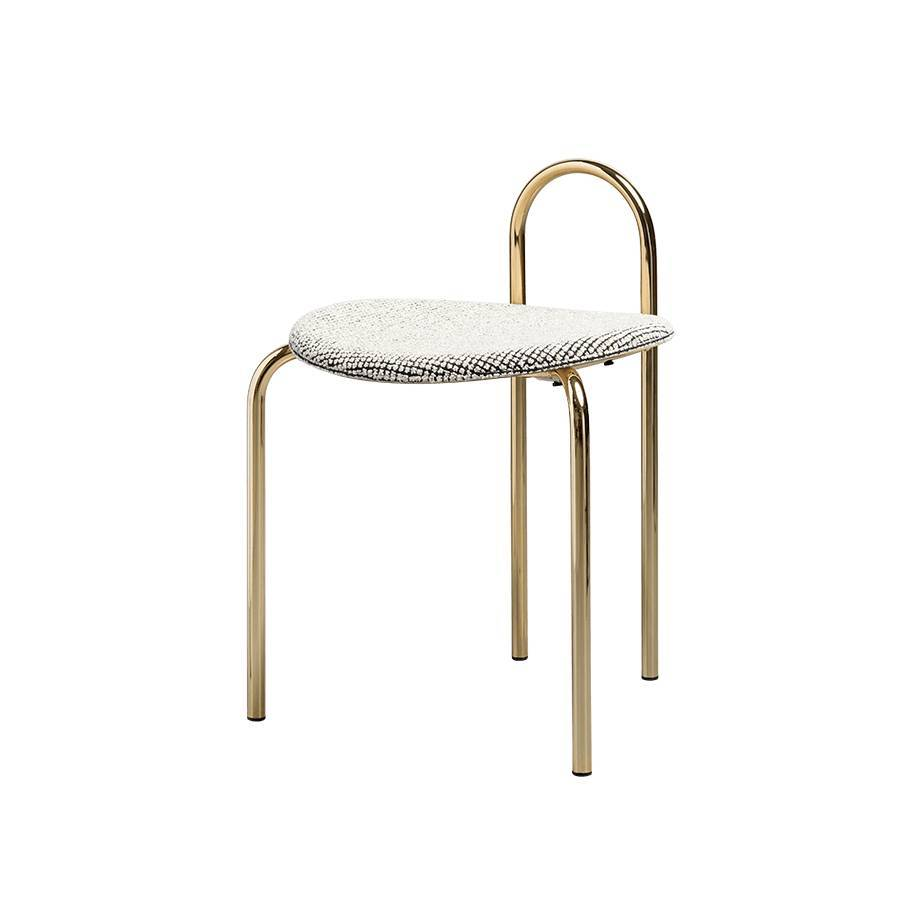 Michelle Low Stool: Upholstered + Gold Chrome