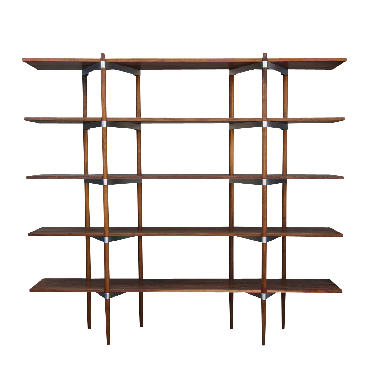 Primo Shelving System: High + Walnut + Stainless Steel