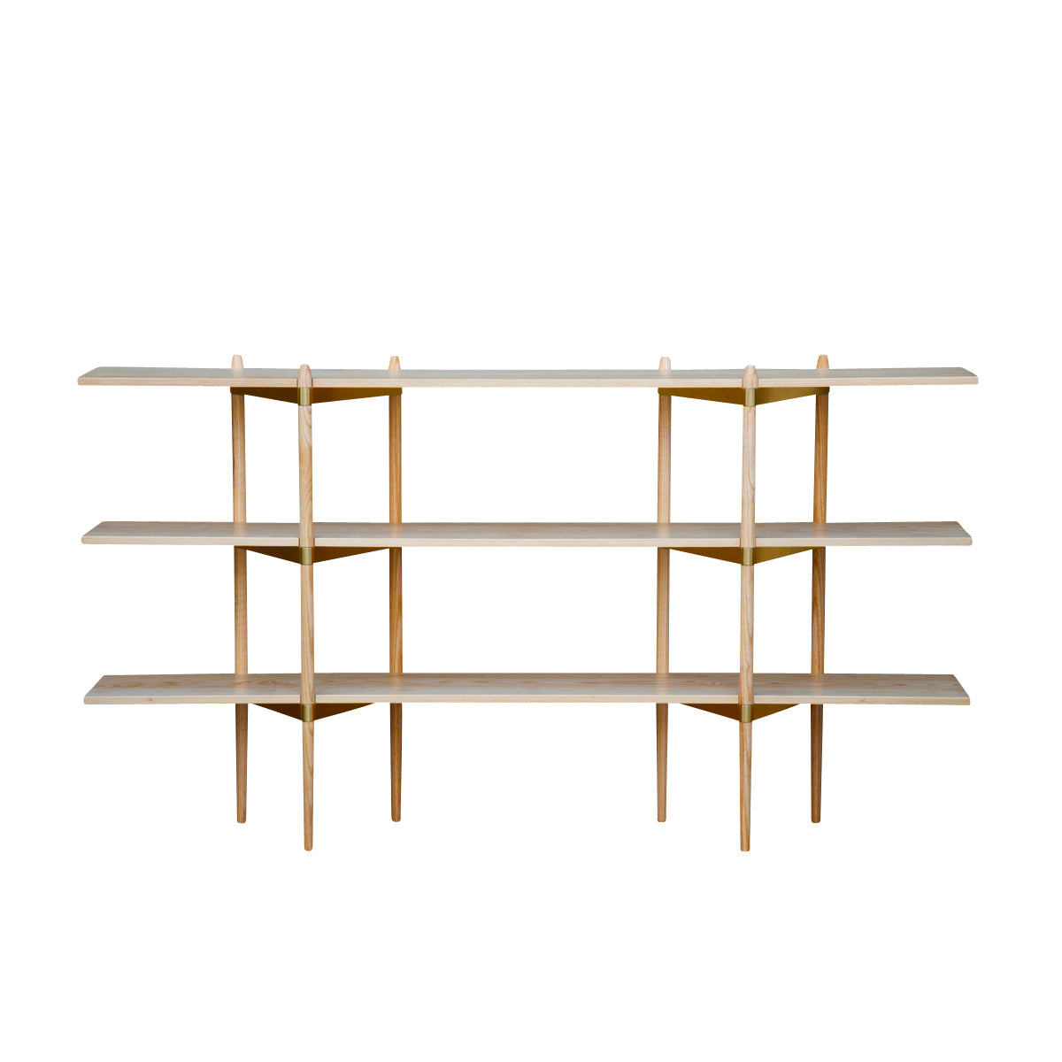 Primo Shelving System: Low + Ash + Brass