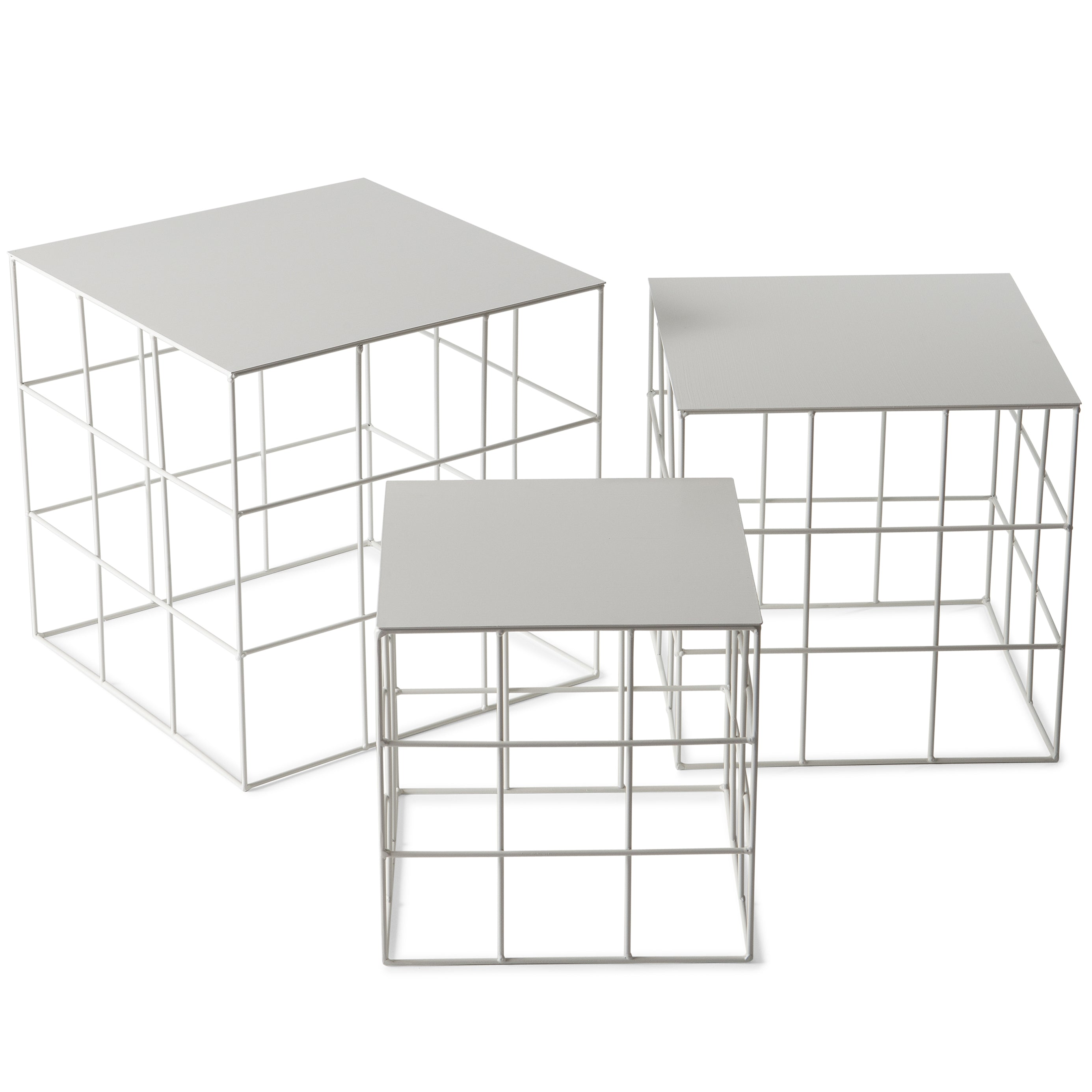 Reton Square Side Table Set: Signal White