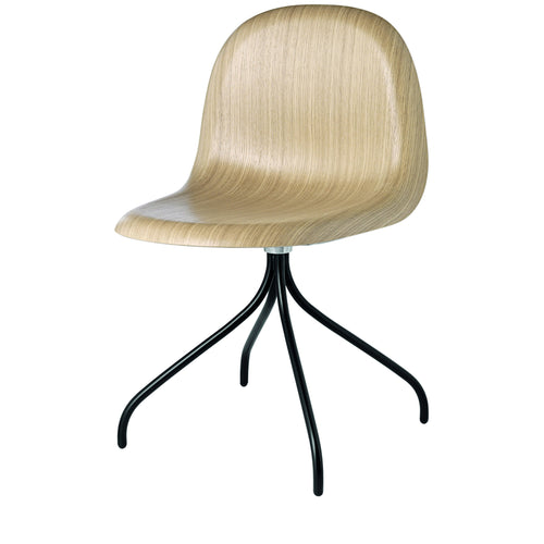 3D Meeting Chair: Swivel Base: Oak Shell + Black Semi-Matte Base
