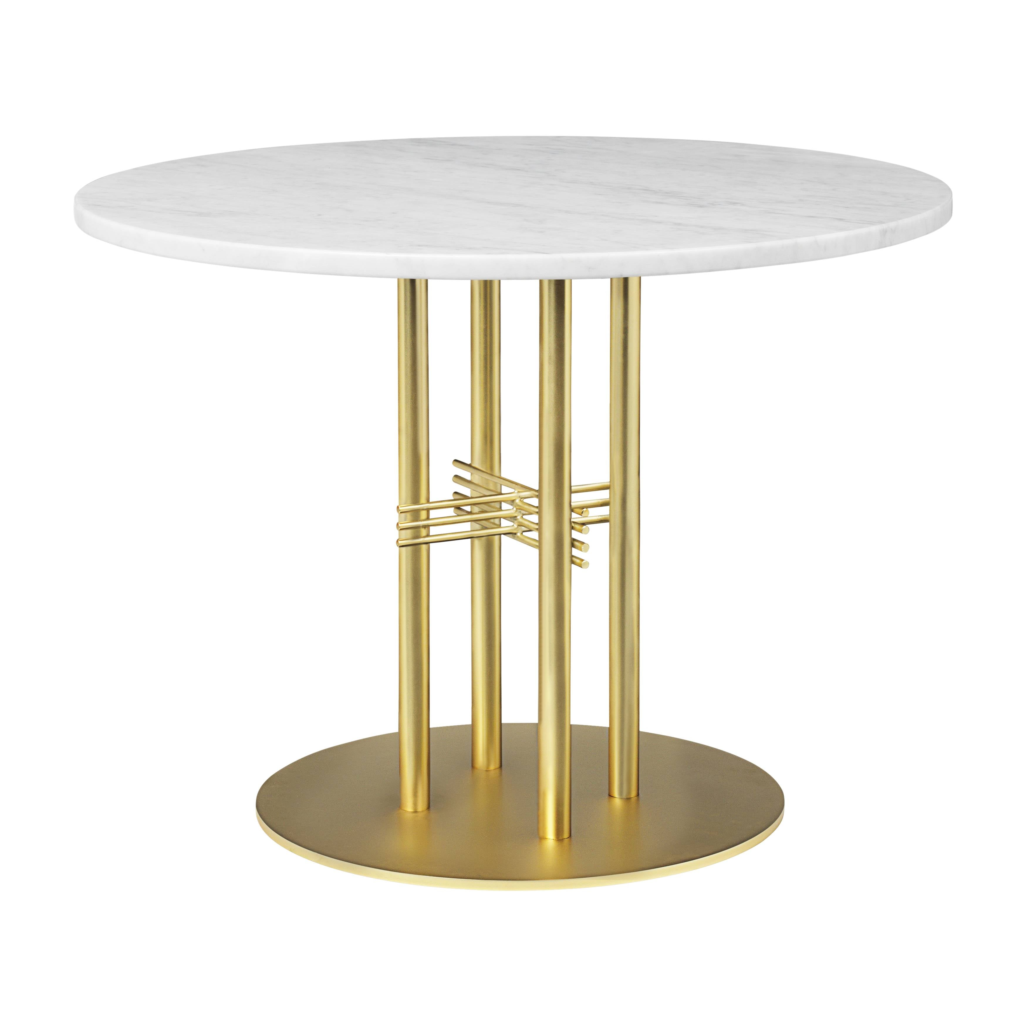TS Column Lounge Table: Small + Brass Base + White Carrara Marble