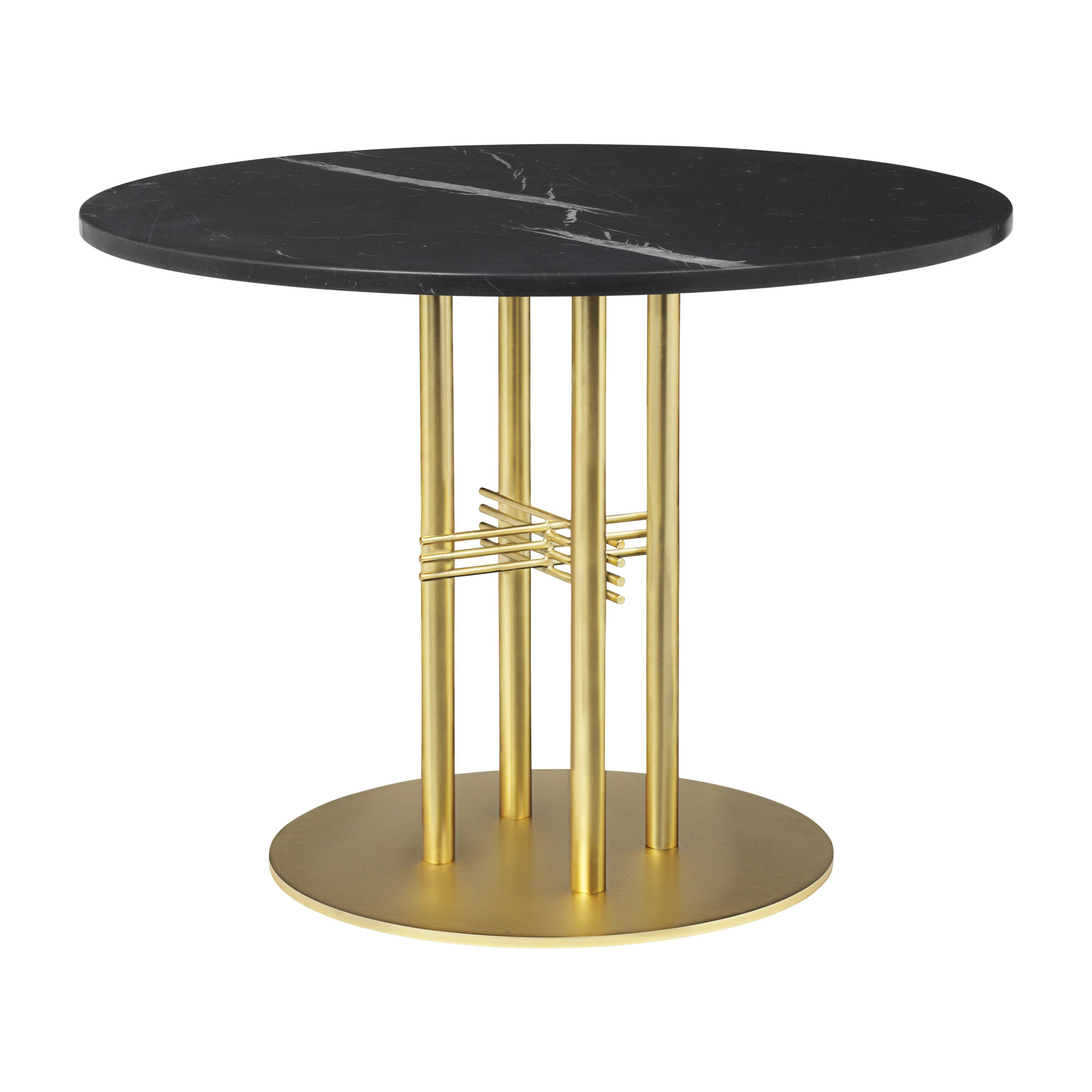 TS Column Lounge Table: Small + Brass Base + Black Marquina Marble