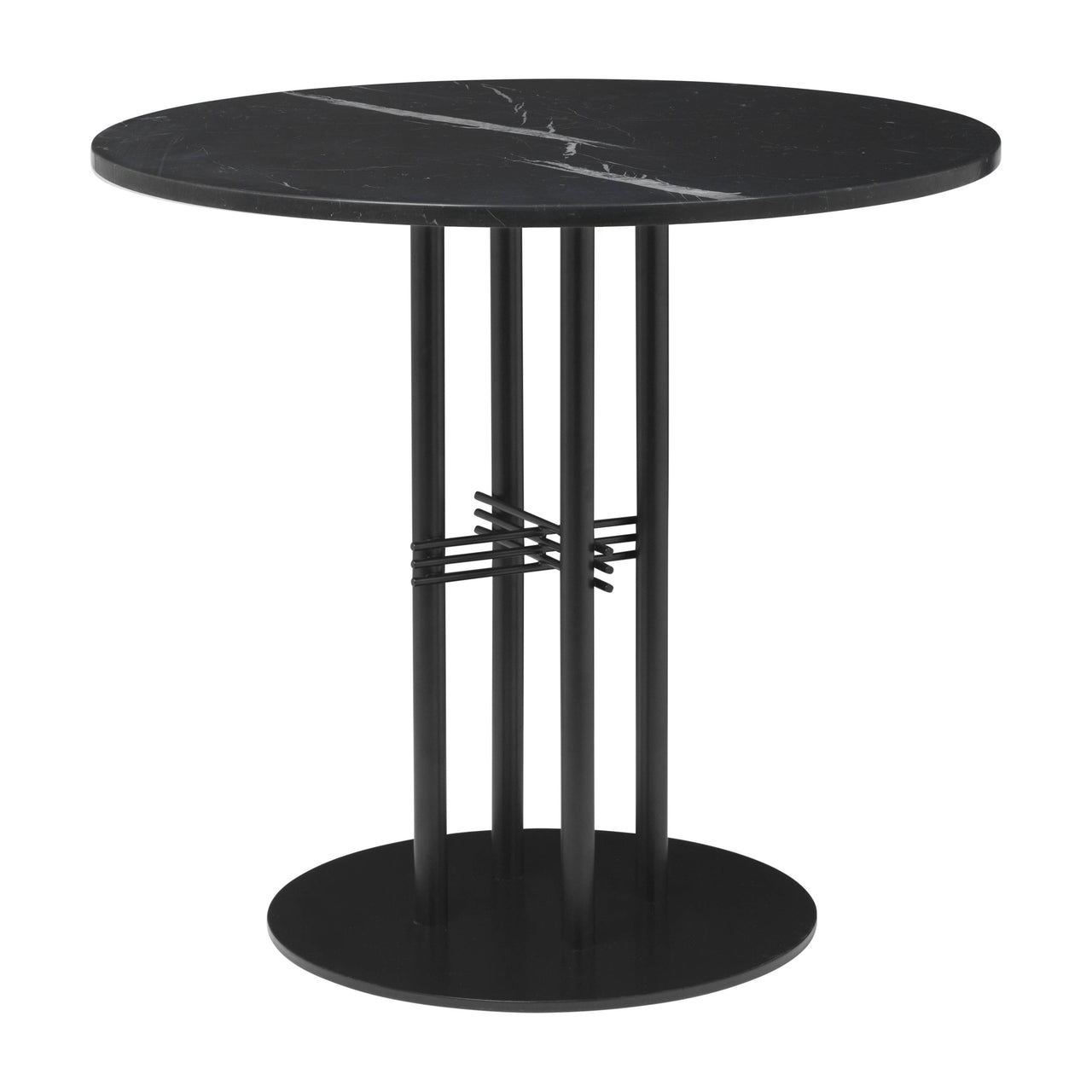 TS Column Dining Table: Small + Black Base + Black Marquina Marble