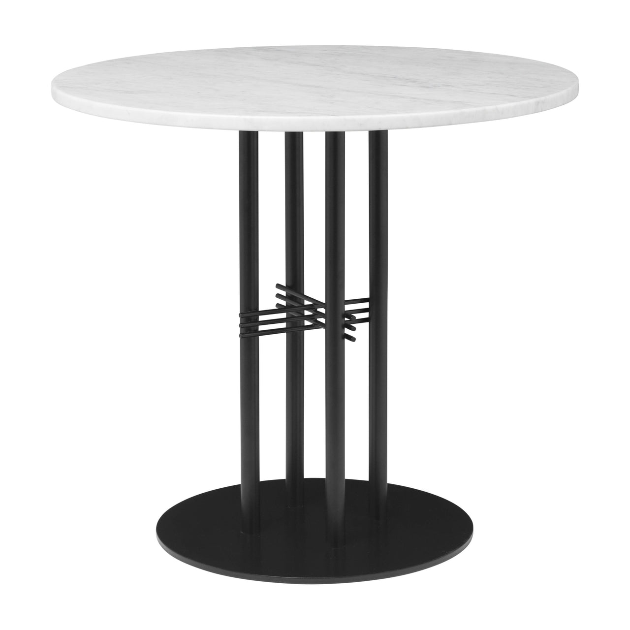 TS Column Dining Table: Small + Black Base + White Carrara Marble