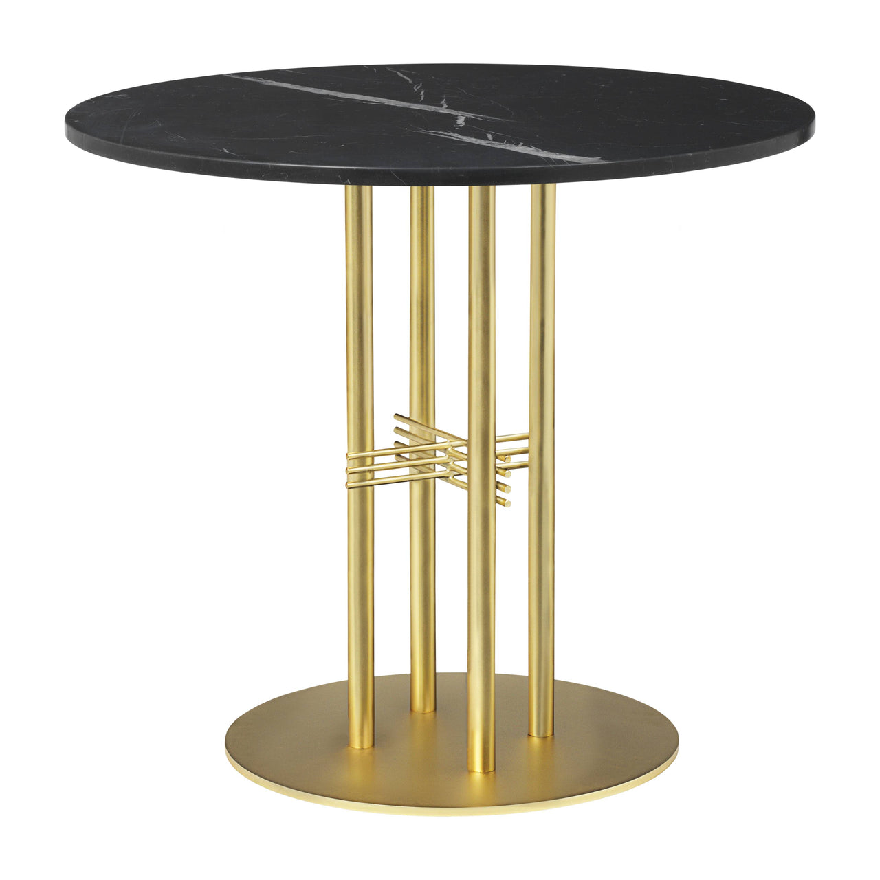 TS Column Dining Table: Small + Brass Base + Black Marquina Marble