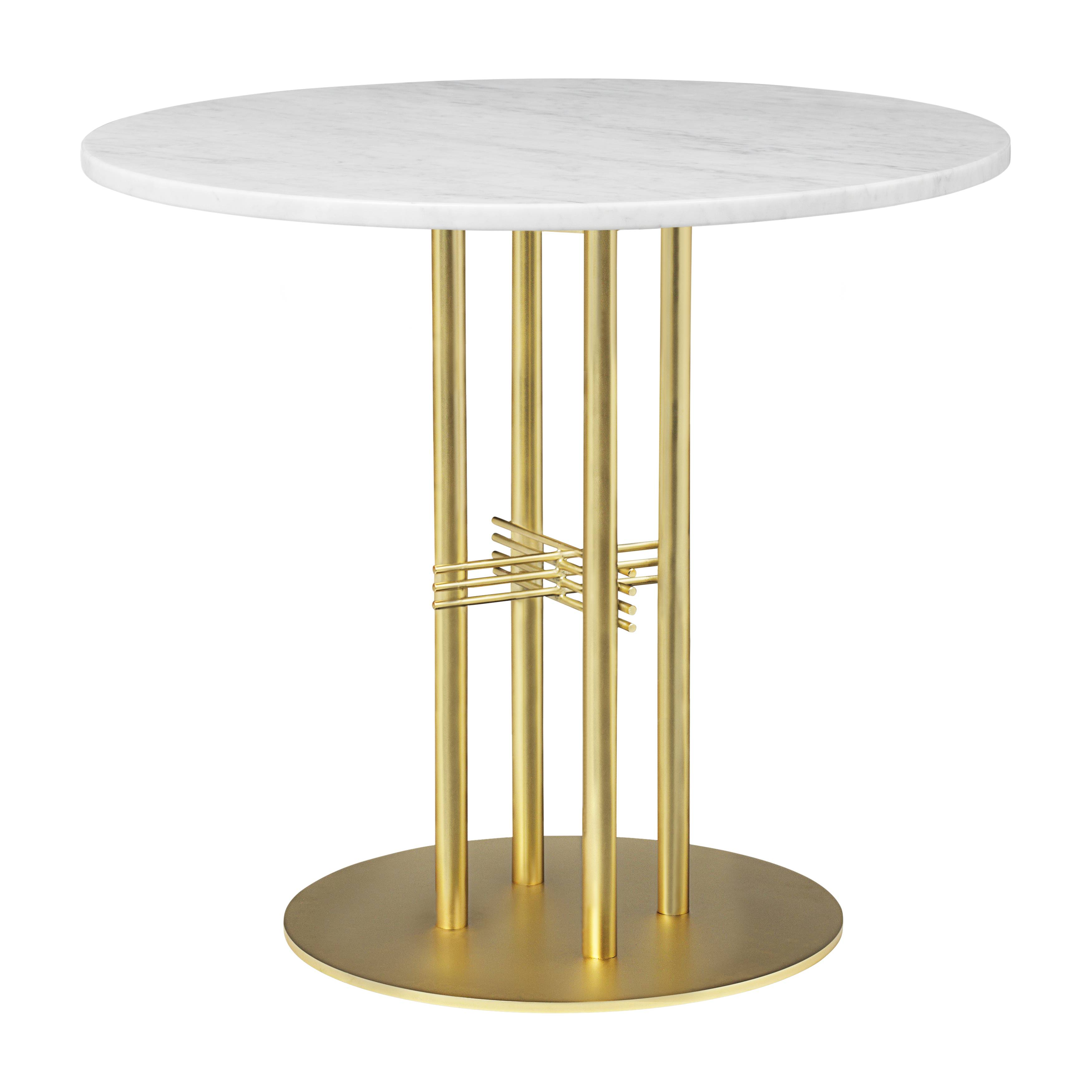 TS Column Dining Table: Small + Brass Base + White Carrara Marble