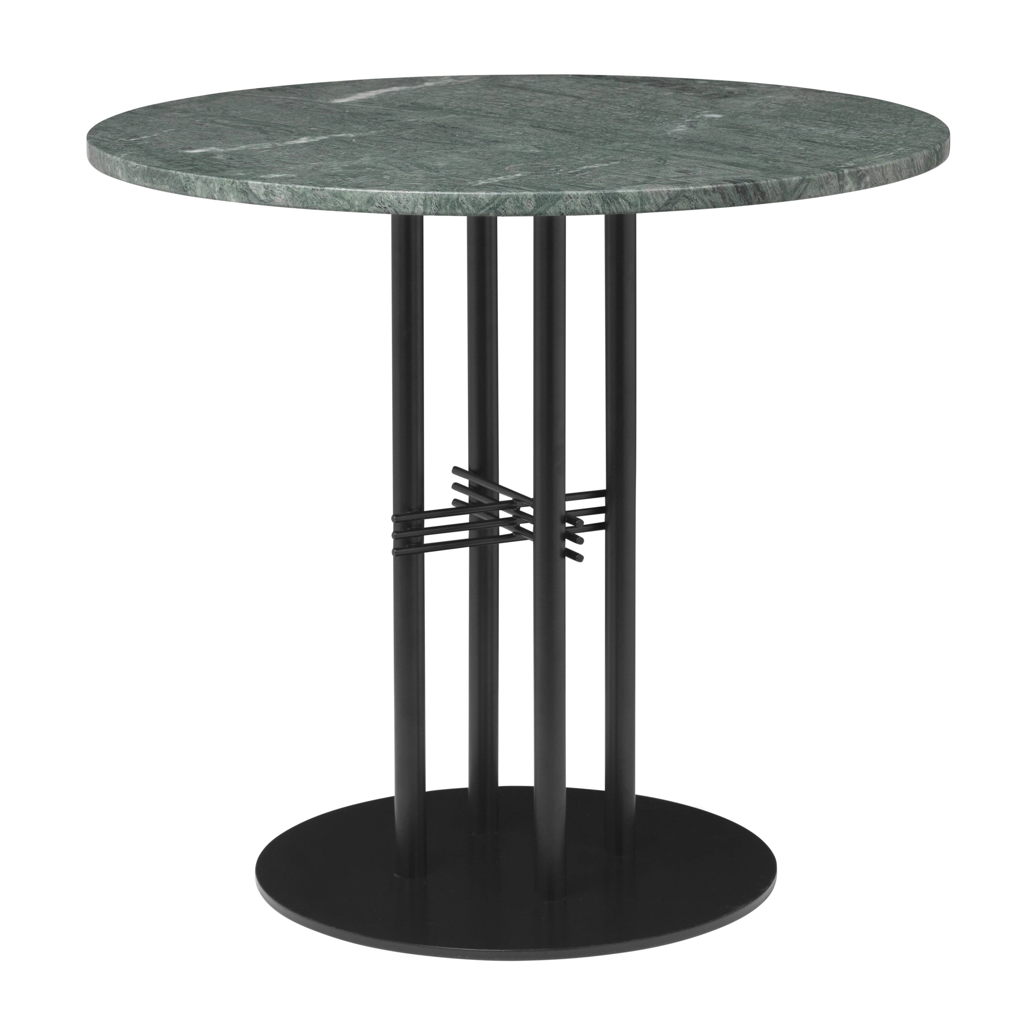TS Column Dining Table: Small + Black Base + Green Gautemala Marble
