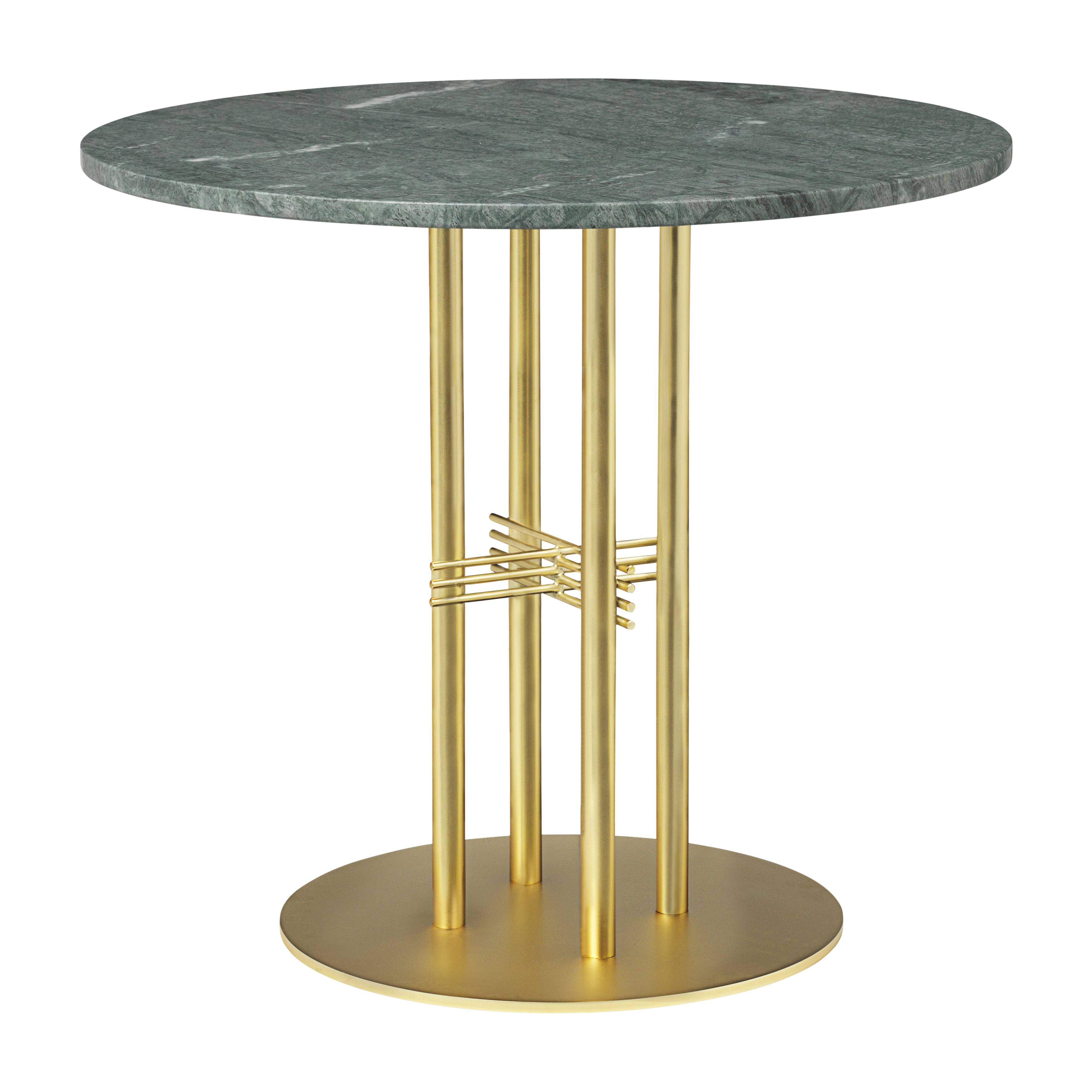 TS Column Dining Table: Small + Brass Base + Green Gautemala Marble