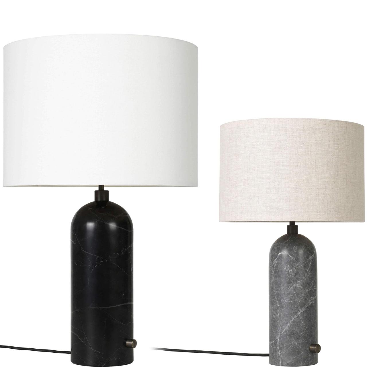 Gravity Table Lamp: Large + Black Marble + White + Small + Grey Marble + Canvas