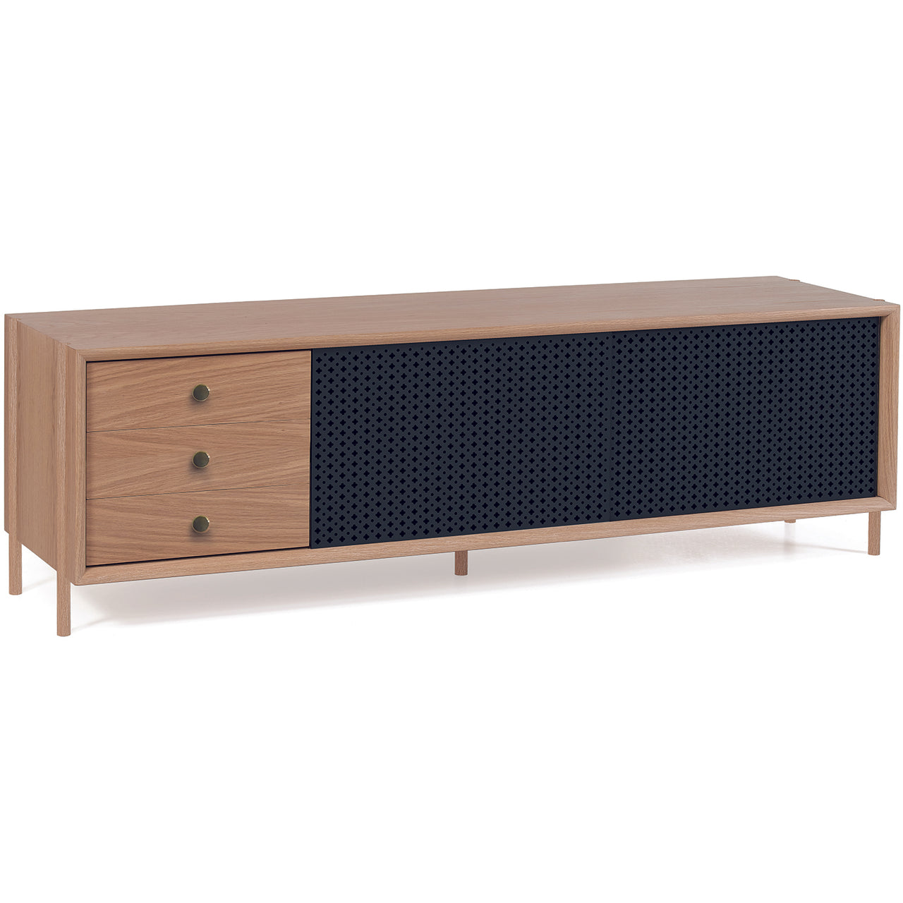 Gabin Sideboard: Large: Large with Drawers + Oak + Slate Grey
