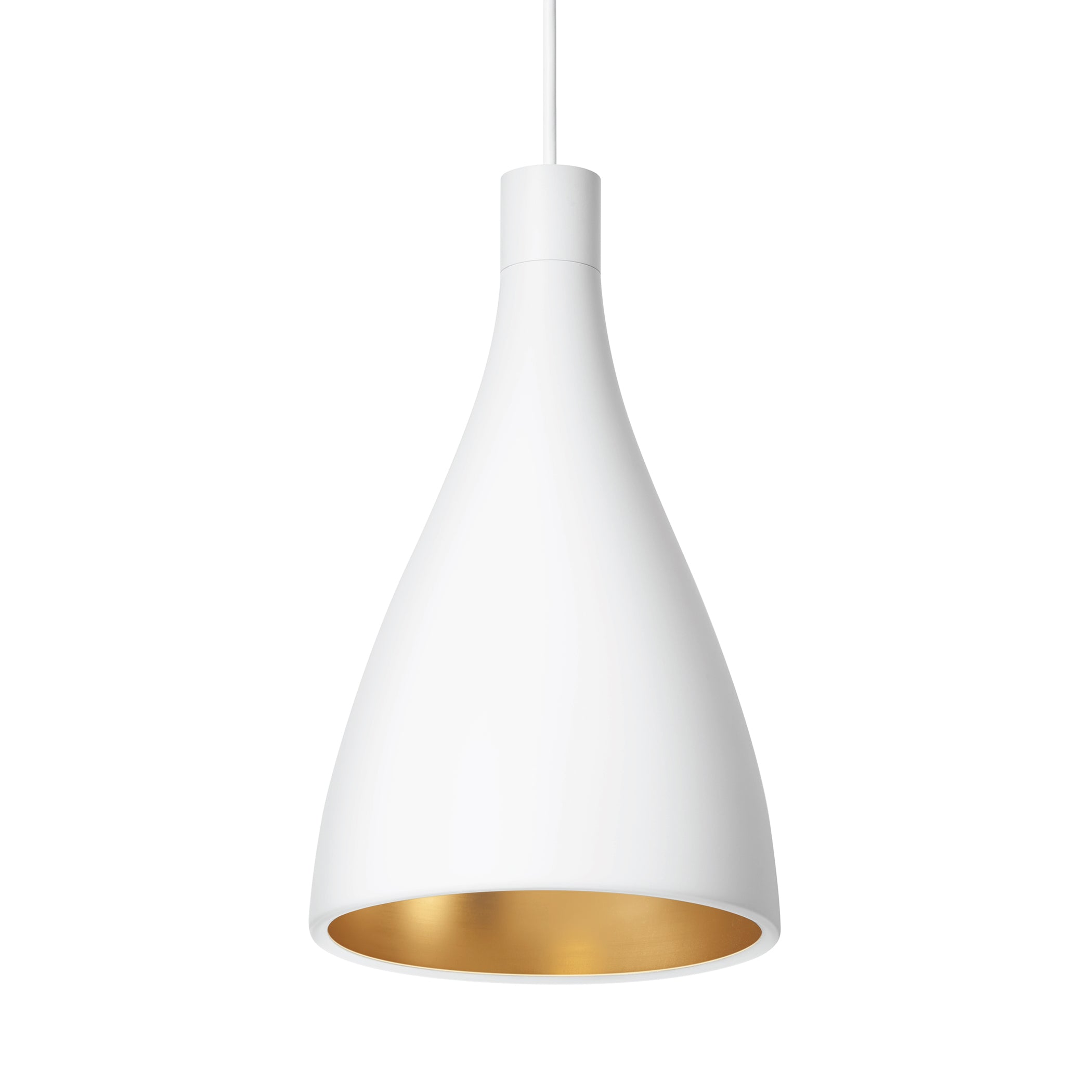 Swell Single Indoor/Outdoor Pendant Light: Narrow + White + Brass