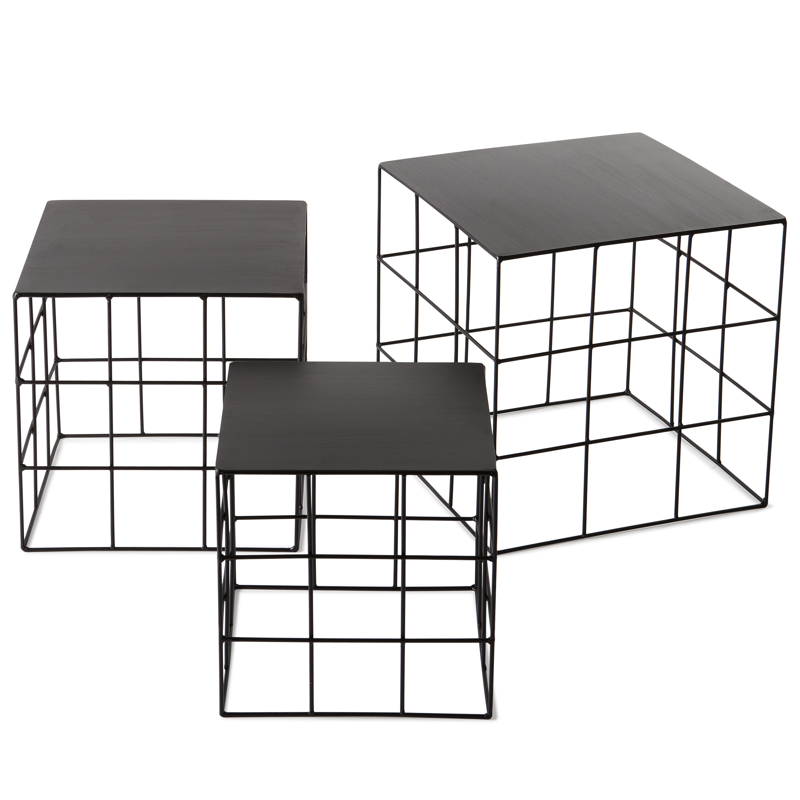 Reton Square Side Table Set: Jet Black
