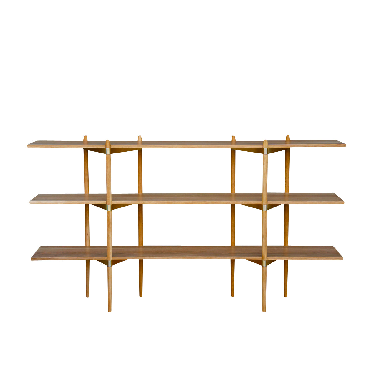 Primo Shelving System: Low + Oak + Brass