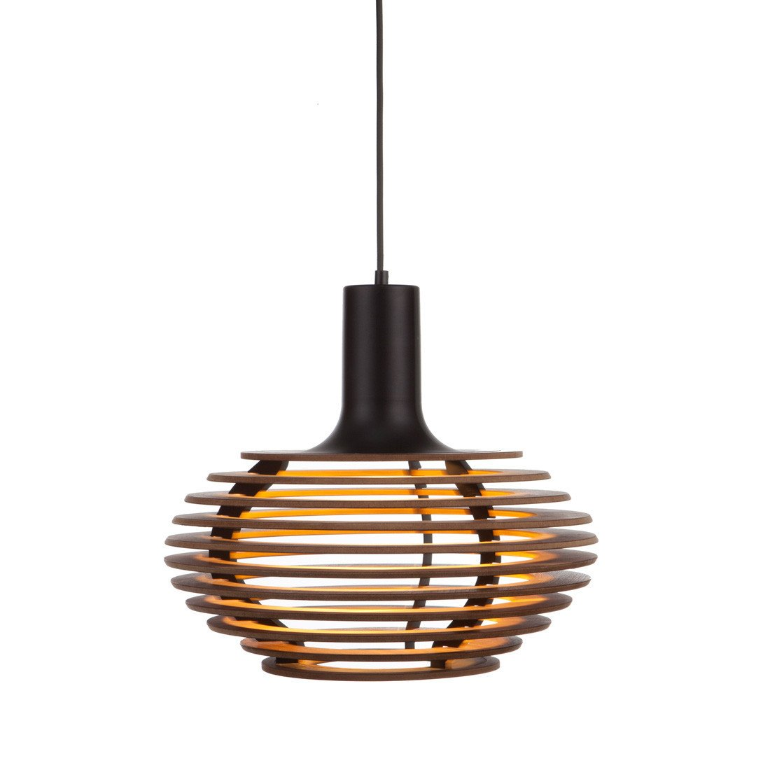 Dipper Pendant Light: Small + Walnut + Black