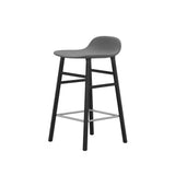 Form Bar + Counter Stool: Black-Lacquered Oak Upholstered
