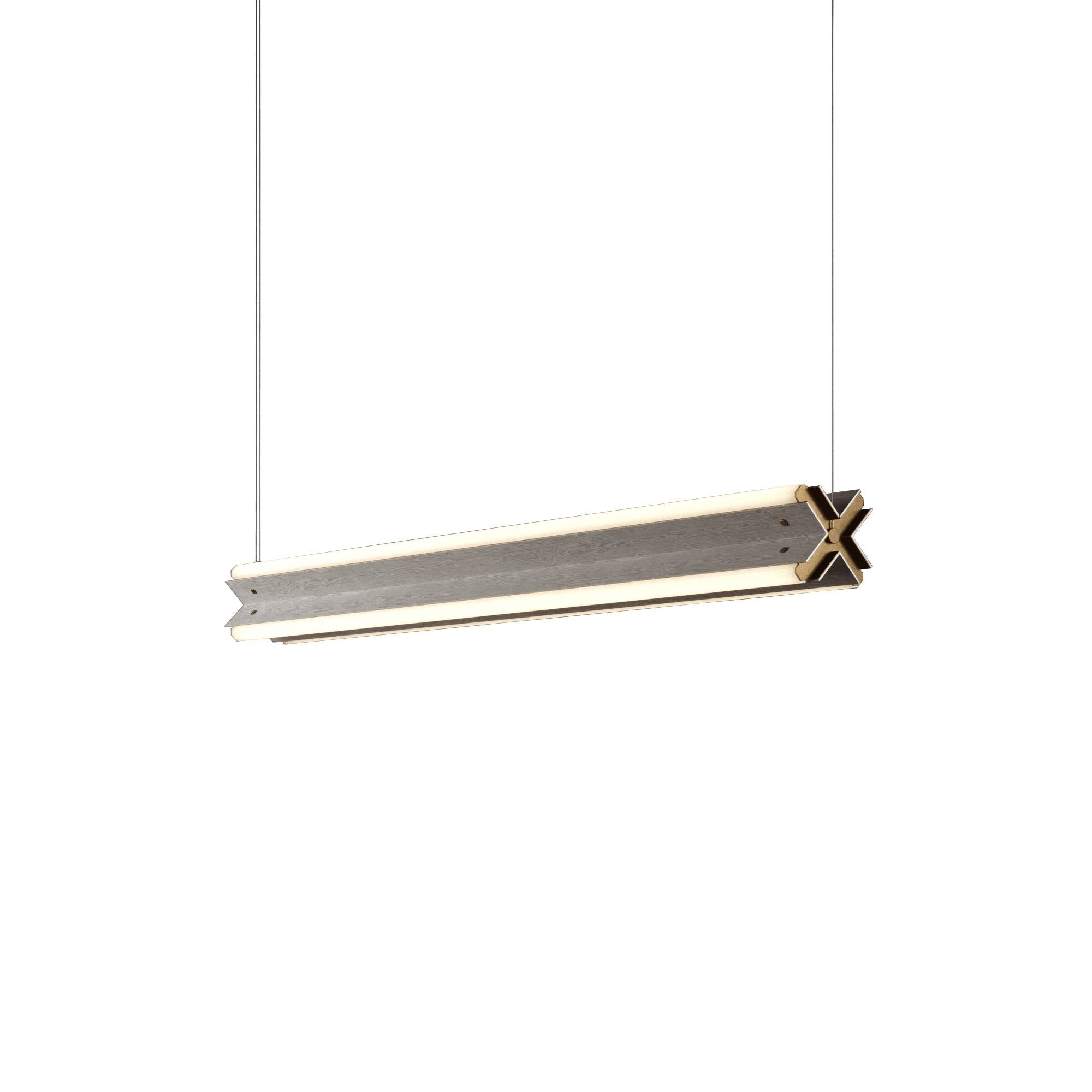 "Axis X Suspension Light: 48"" + Grey Stained Ash + Horizontal"