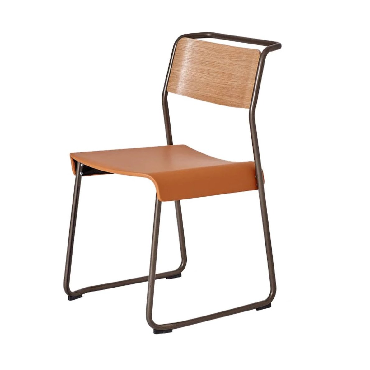Canteen Utility Chair: Upholstered: Oak + Black Red