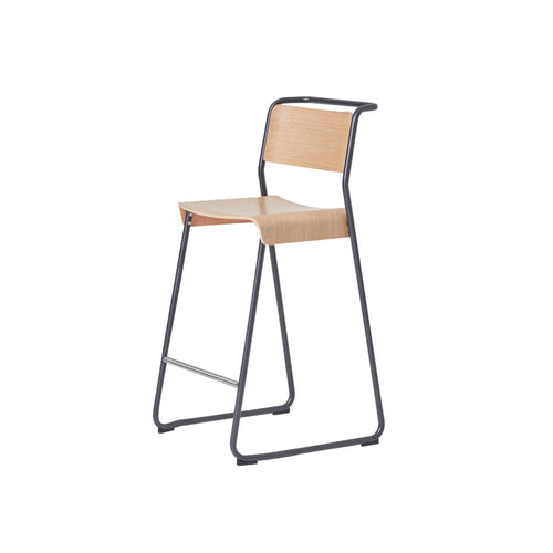 Canteen Utility Counter Stool: Light Oak + Black Red