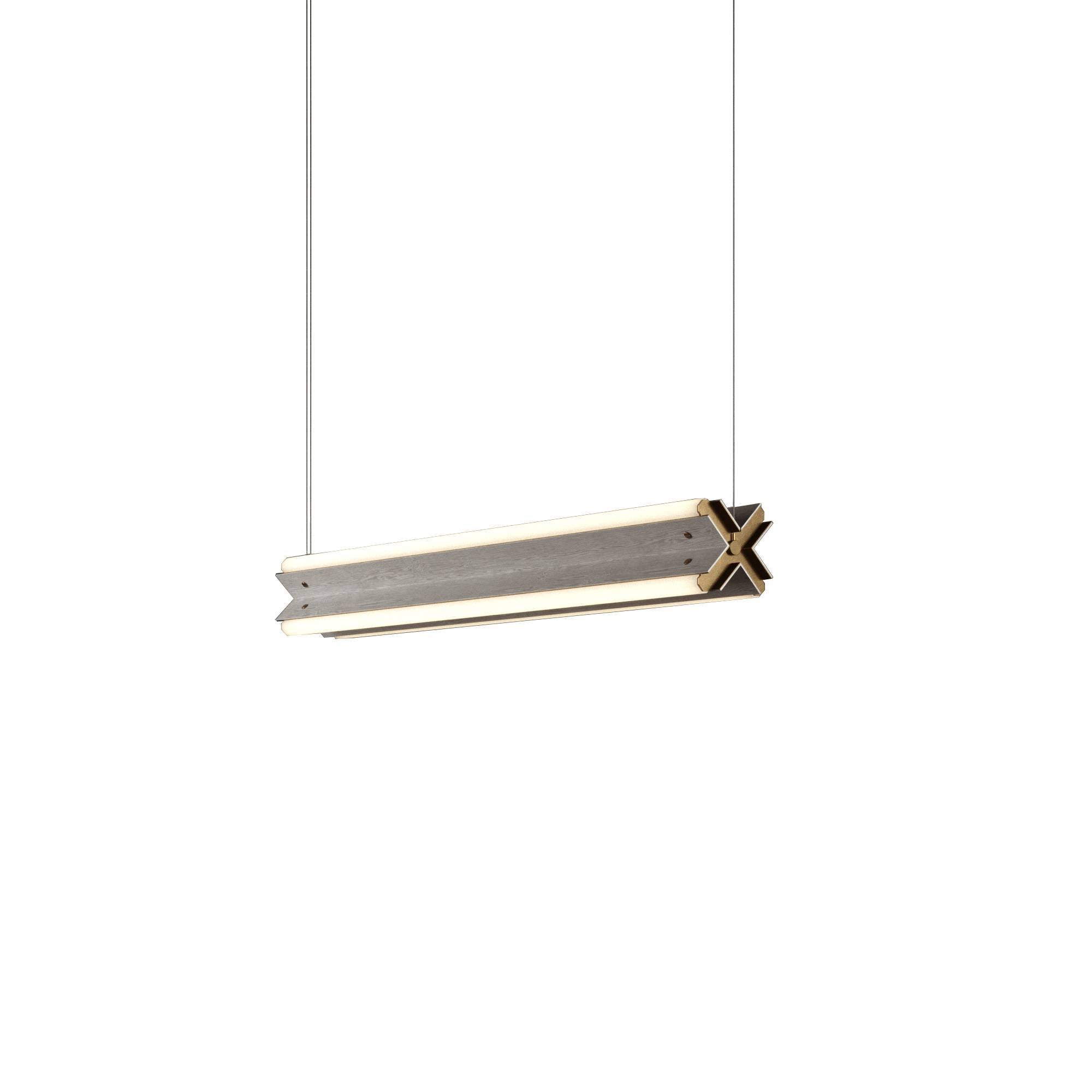 "Axis X Suspension Light: 36"" + Grey Stained Ash + Horizontal"