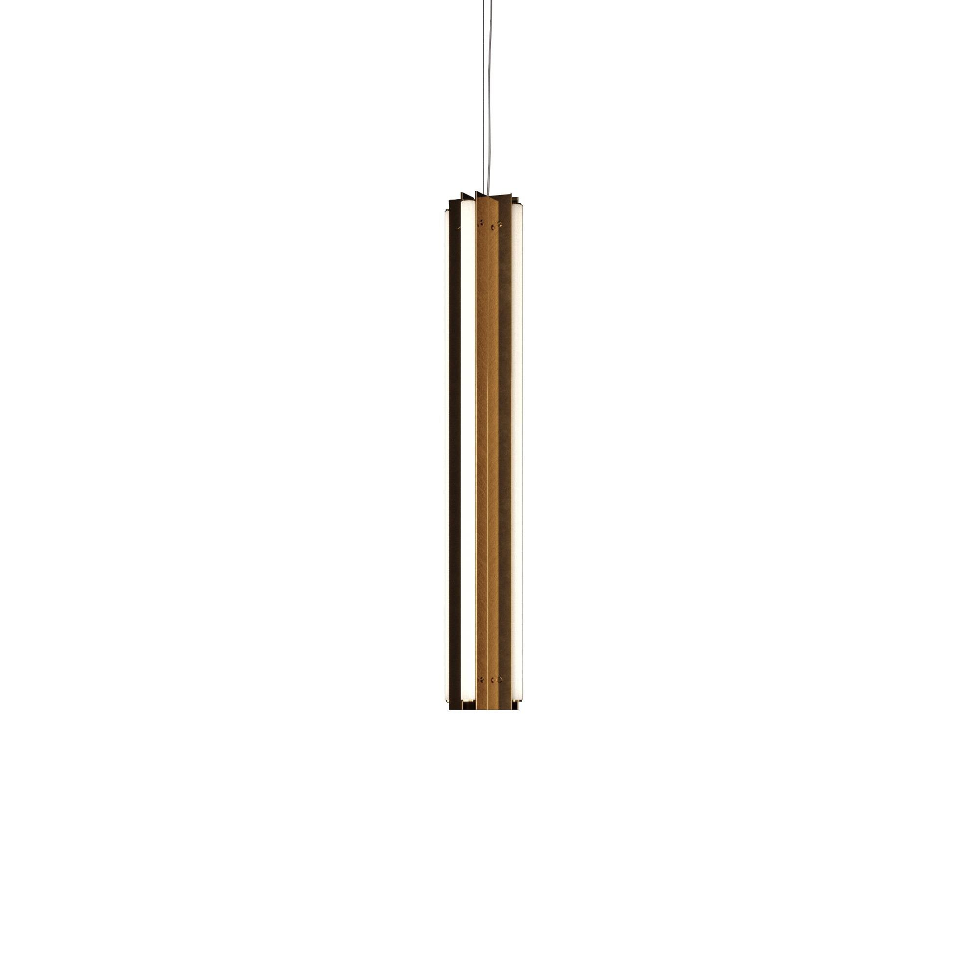 "Axis X Suspension Light: 36"" + Polished Brass + Vertical"