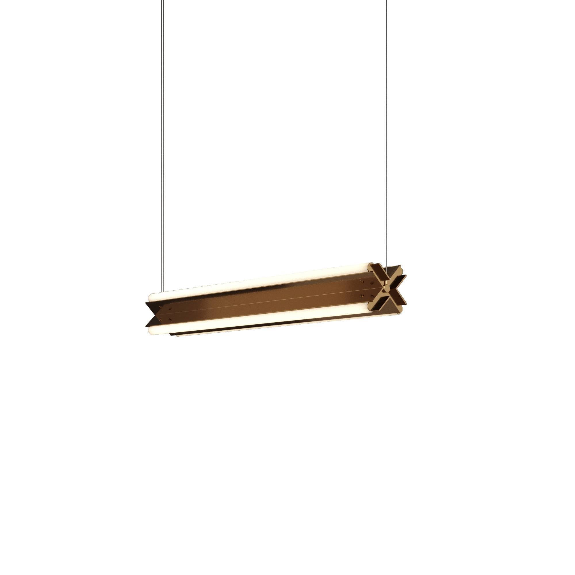 "Axis X Suspension Light: 36"" + Polished Brass + Horizontal"