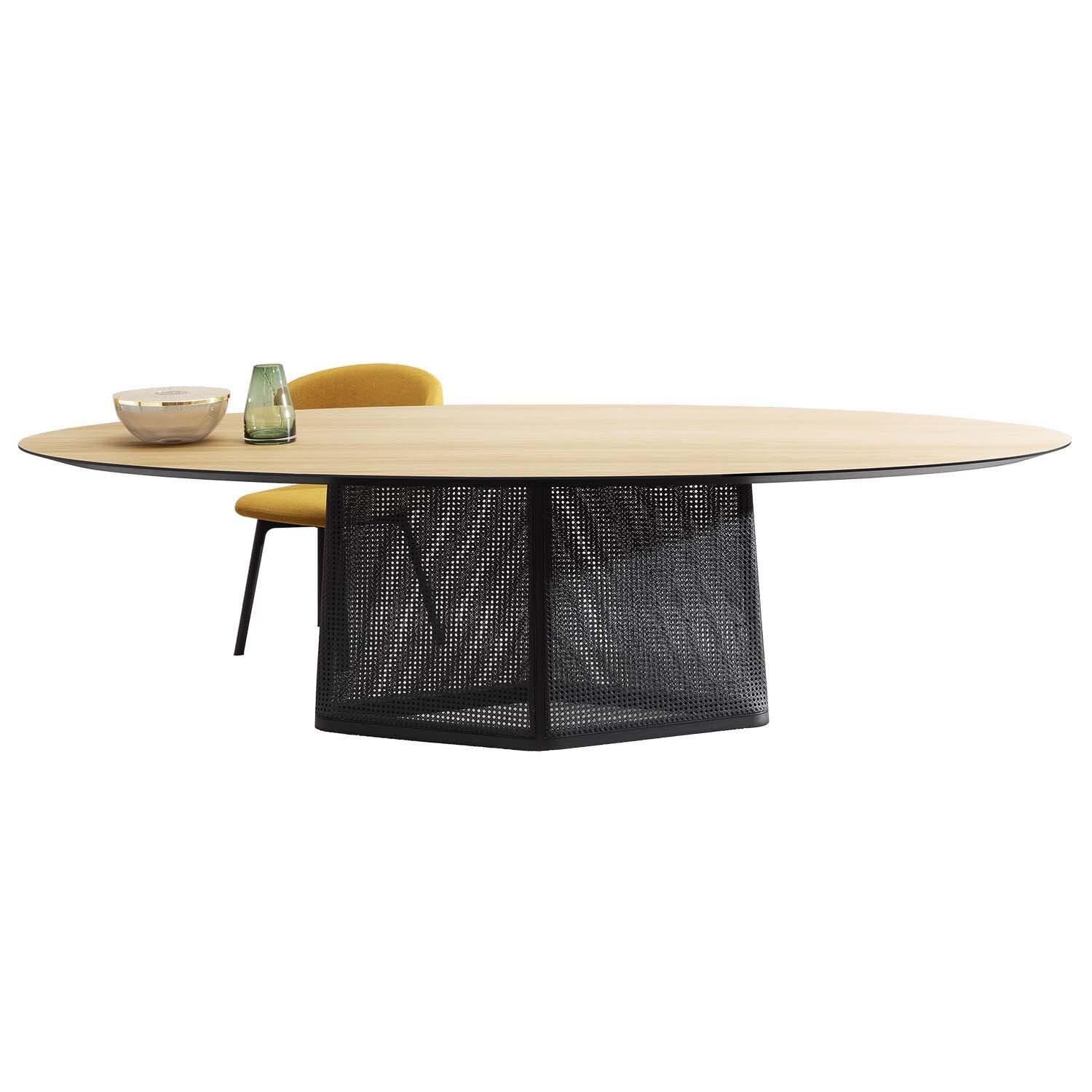 Colony Dining Table: Oval: Flamed Oak + Black Aniline