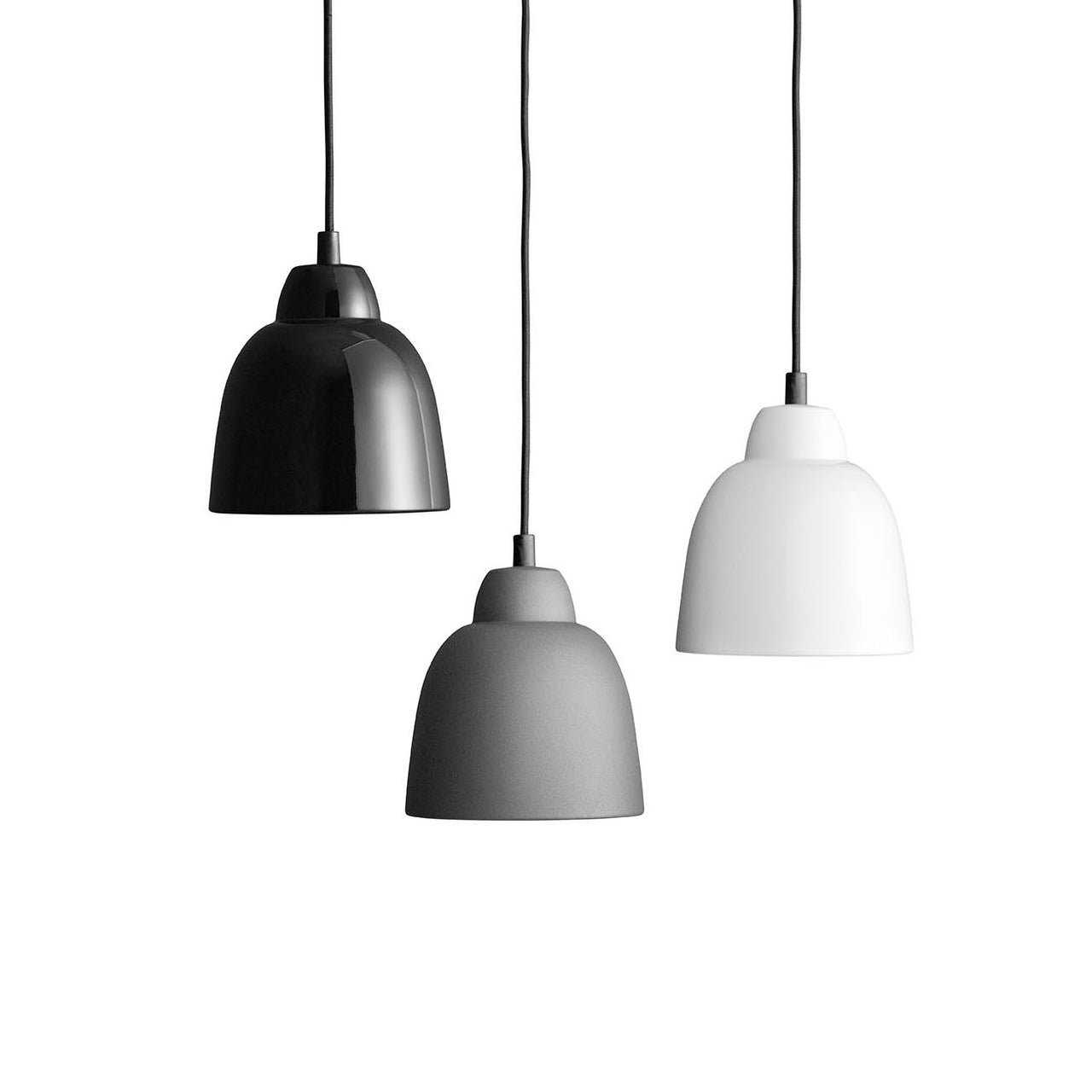 Tulip Pendant Lamp: Shiny Black + Anthracite Grey + White
