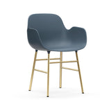 Form Armchair: Brass: Blue