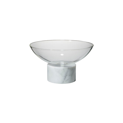 Podium Vase: Bowl: White Marble