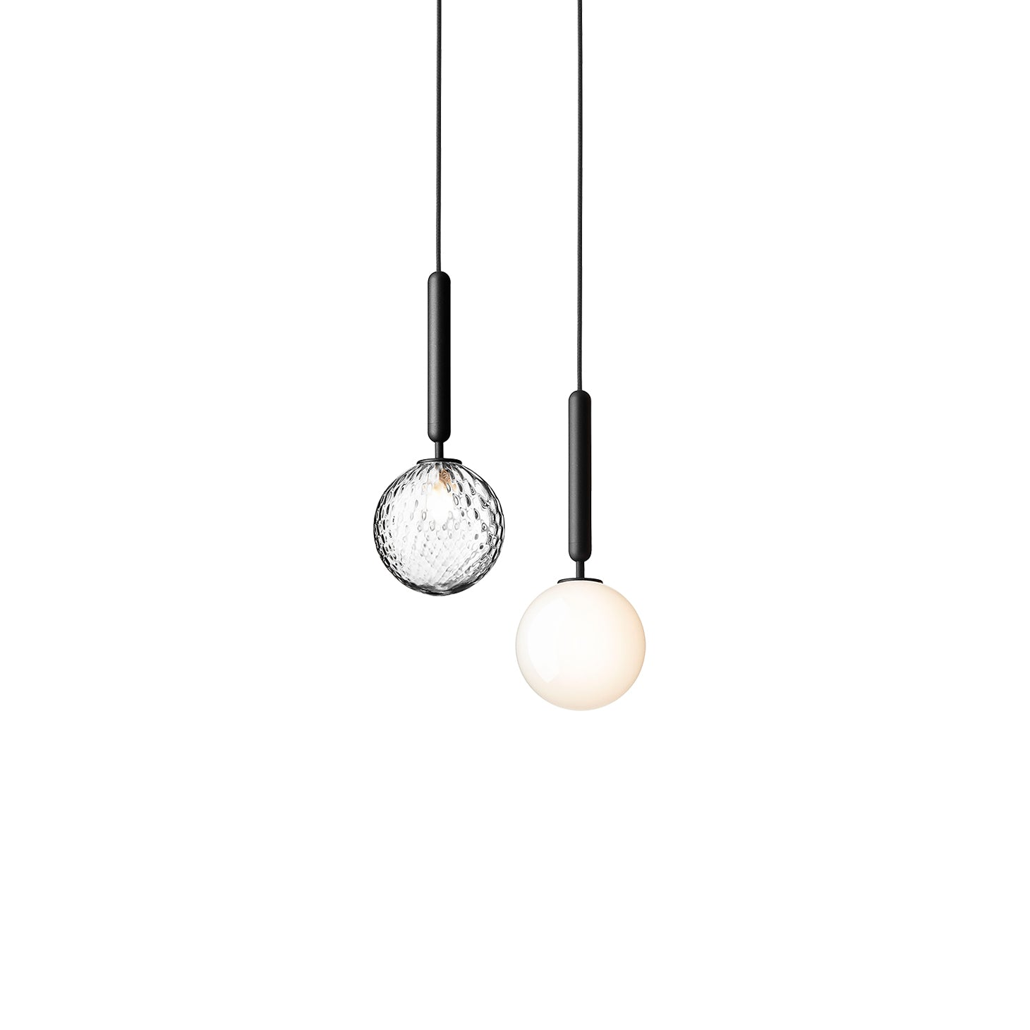 Miira 1 Pendant: Optic Clear + Opal White + Rock Grey + Small