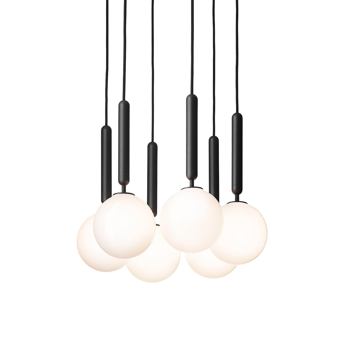 Miira 6 Chandelier: Opal White + Small