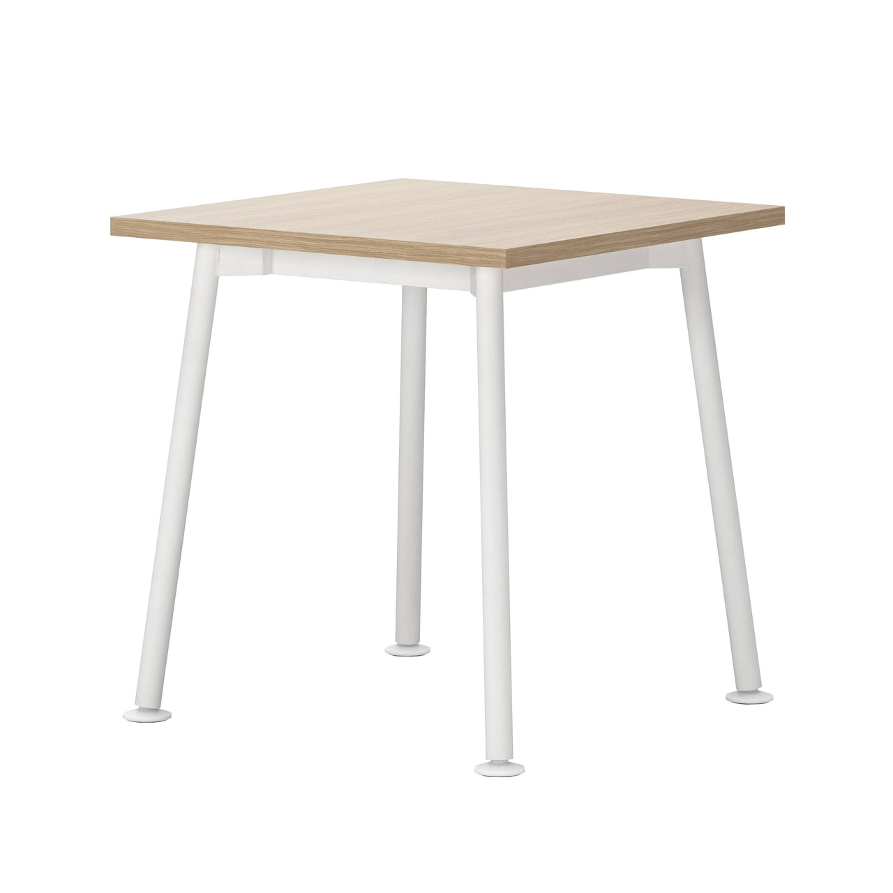 Landa Table: Square + Oak Veneer + White