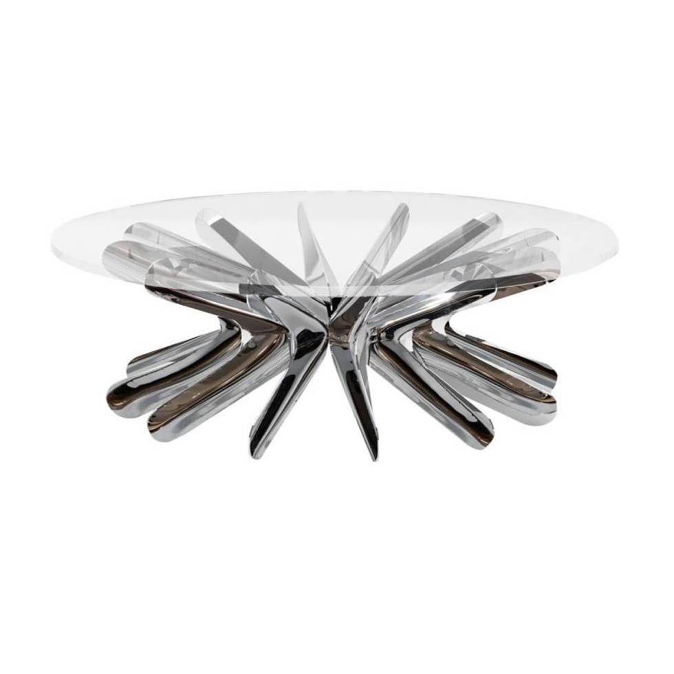 Steel in Rotation Coffee Table: Stainless Steel + Medium