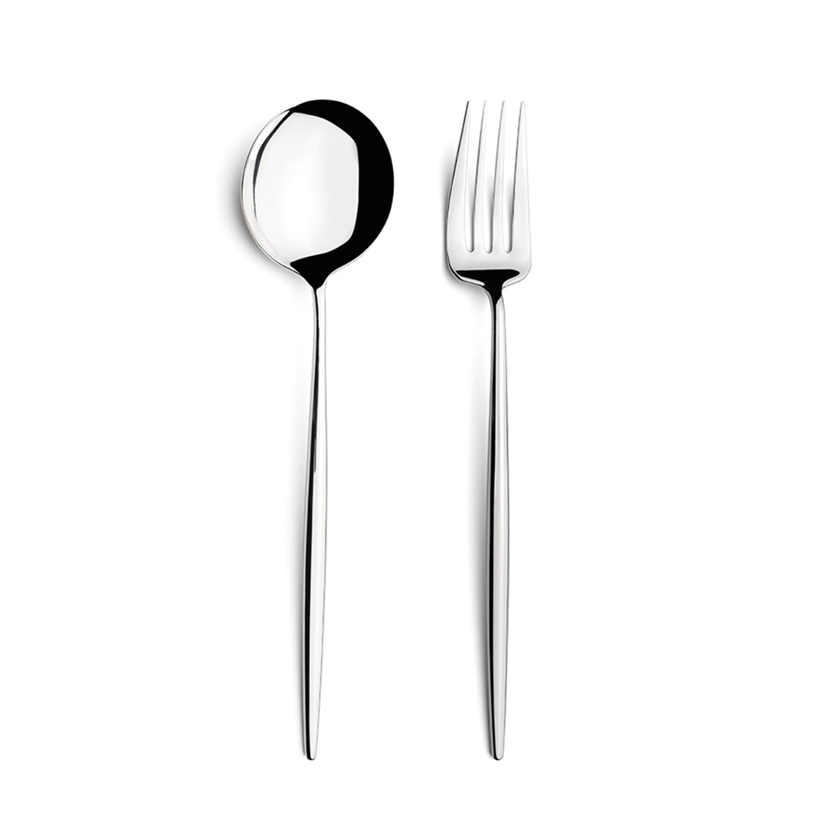 Moon Flatware: Polished Steel: Serving Spoon + Carving Fork