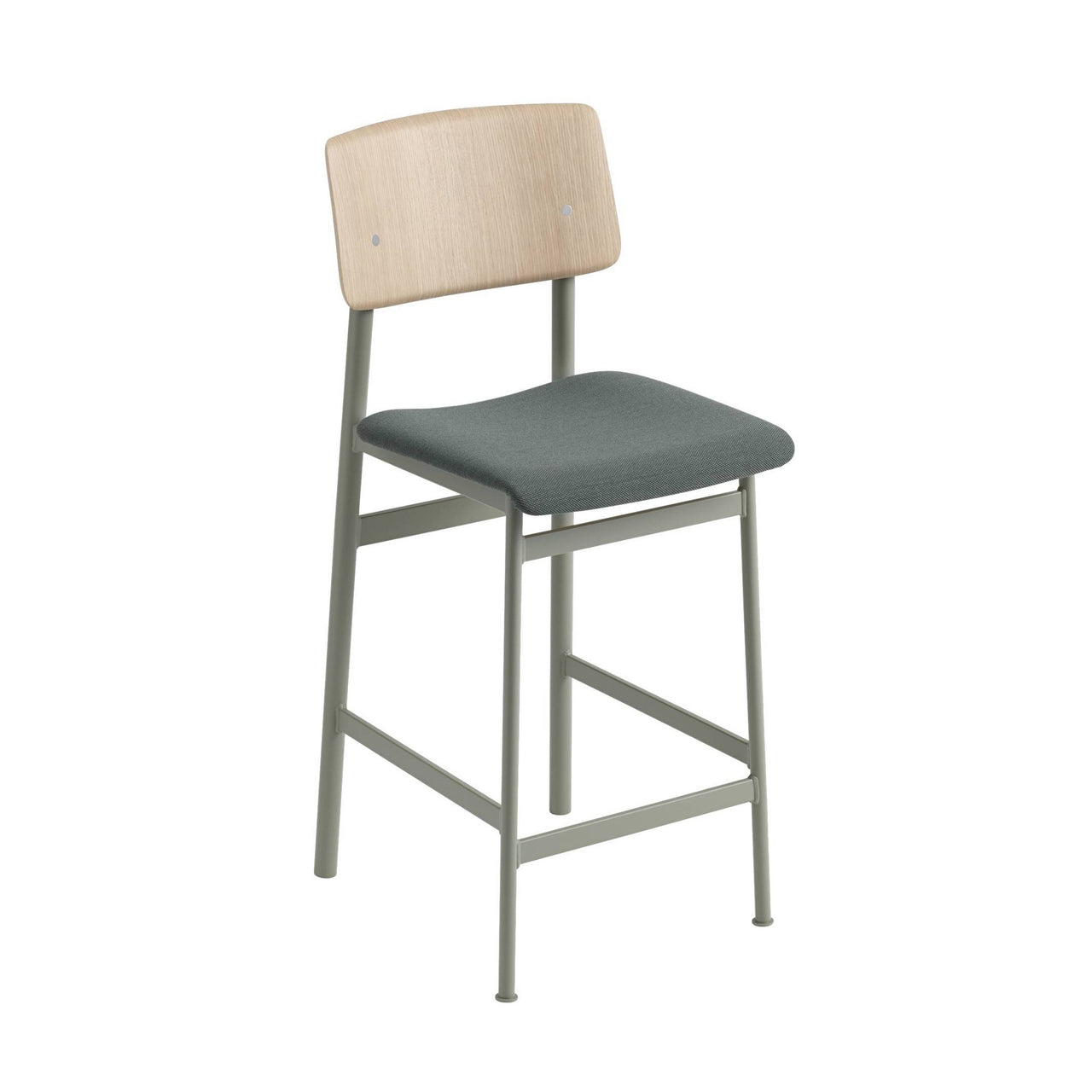 Loft Counter Stool Upholstered: Dusty Green Base + Oak